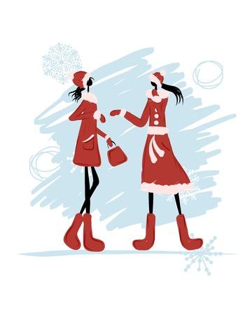 woman in fur coat: Girls in winter coat for your design