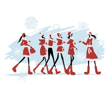 fiatal nők: Mikulás lányok Illusztráció