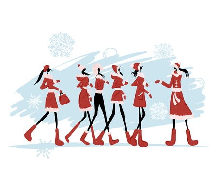 woman in fur coat: Santa girls