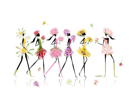 Girls dressed in floral costumes, hen party Vector