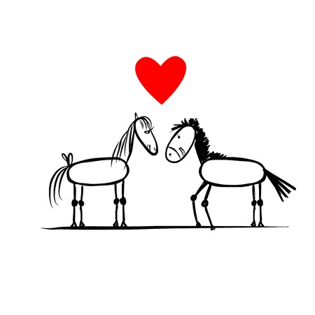 Couple of horses in love Vector
