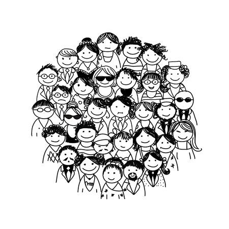 bocetos de personas: Grupo de personas Vectores