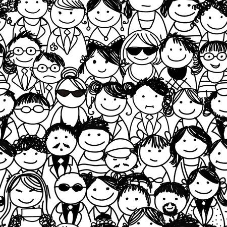 man face profile: Patr�n sin fisuras con la gente se aglomera Vectores