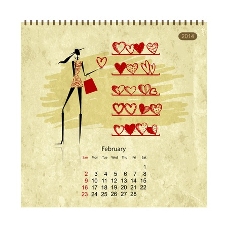 fashion week: Girls retro calendar 2014 for your design, february