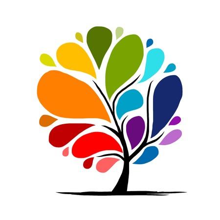 Árbol del arco iris de fondo para su diseño Ilustración de vector