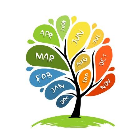 meses del año: Diseño del árbol del arte con 12 meses de pétalos de años