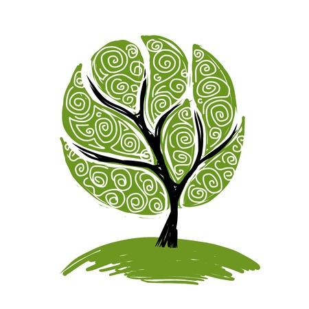 arbol raices: Resumen árbol de color verde para su diseño