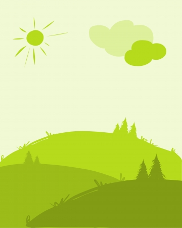 hill: Green hills, landscape for your design Illustration