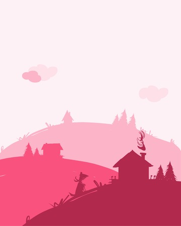 Dawn in village, landscape for your design Vector
