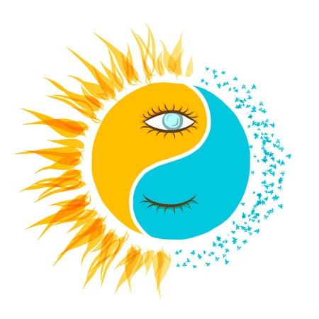 illustrazione sole: Giorno e notte concept per la progettazione