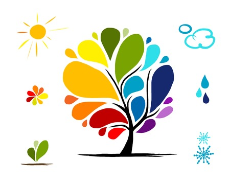 nigth: Rainbow tree with weather signs for your design