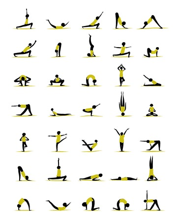 People practicing yoga, poses for your design Vector