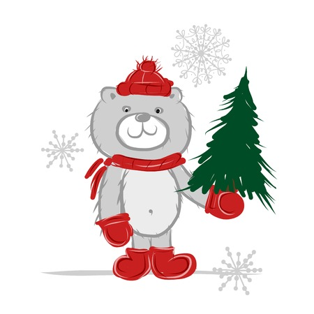 Funny santa bear with christmas tree for your design Vector