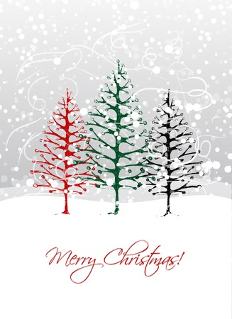 huge christmas tree: Christmas trees in forest, postcard design