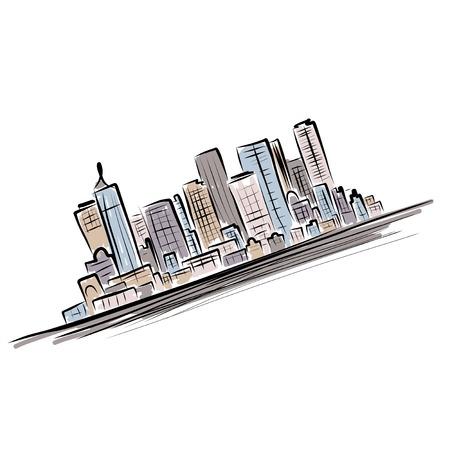 high detail: Cityscape background for your design, urban art Illustration