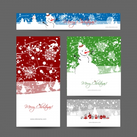 blizzard: Merry christmas, set of postcards with winter tree