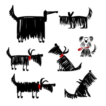 あなたのデザインの面白い黒犬コレクション  イラスト・ベクター素材