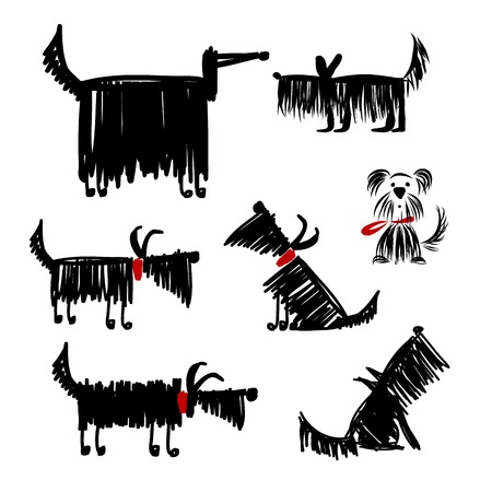 dogs playing: Funny black dogs collection for your design Illustration