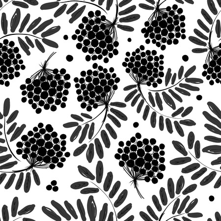 Rowan branch with berries, seamless pattern for your design Vector