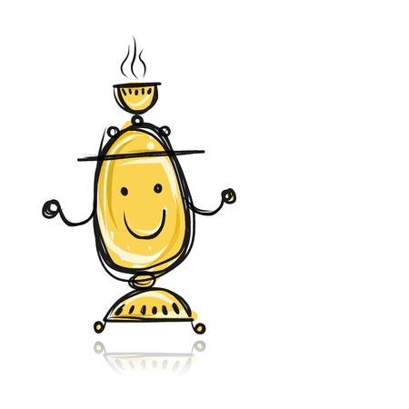 Funny samovar sketch for your design Vector