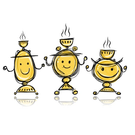 Funny samovars sketch for your design Vector