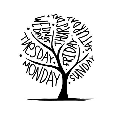 Diseño del árbol del arte con día 7petal de semana Ilustración de vector
