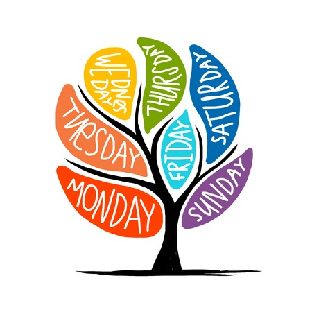 days of the week: Art tree design with 7petal days of week