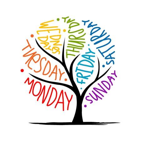 Diseño del árbol del arte con día 7petal de semana