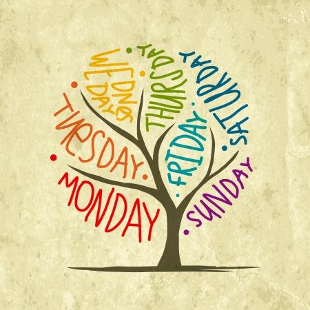 conception d'arbre d'art avec des jours de la semaine 7petal