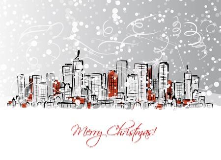 도시 배경 메리 크리스마스 엽서 일러스트