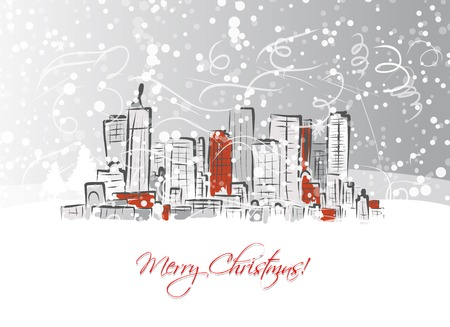 Merry christmas postcard with cityscape background Vector