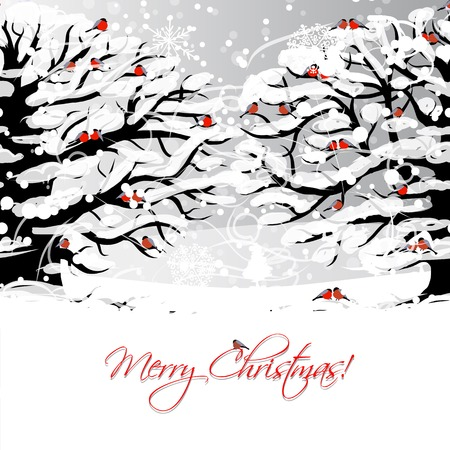 Christmas card design with winter tree and bullfinches Vector