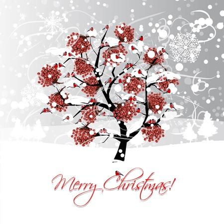 Vogelbeere: Weihnachtskarte Design mit Winter Eberesche und Gimpel Illustration