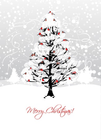 windstorm: Christmas card design with winter tree and bullfinches