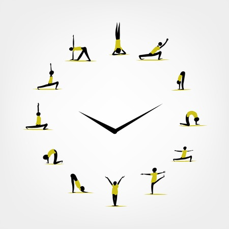 Yoga time, watch concept for your design Illustration
