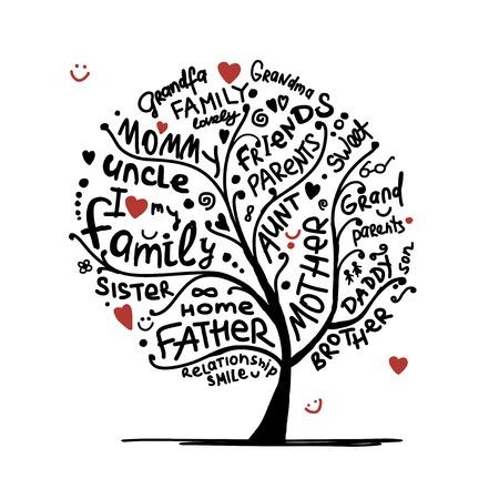 famille: Famille croquis d'arbre pour votre conception Illustration