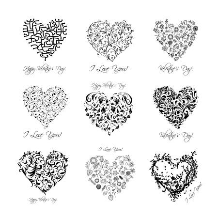Juego de corazones de San Valentín para su diseño Foto de archivo - 25126808