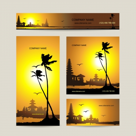 Business cards set with tropical sunset for your design Illustration