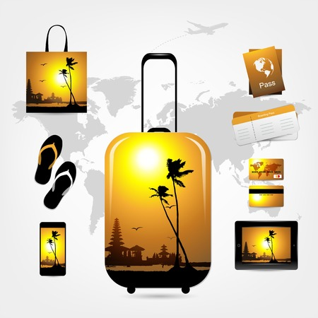 Travel suitcase with trip things, tropical style Vector