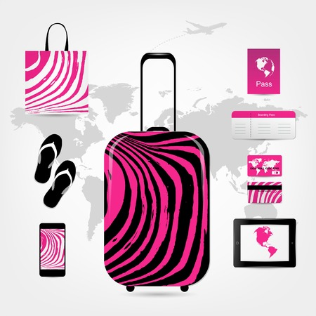 Travel suitcase with set of icons, pink zebra style Vector
