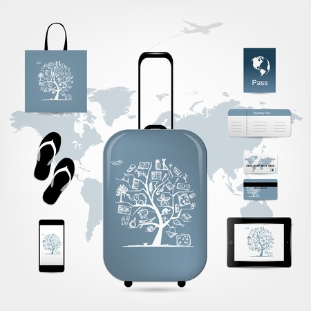 Travel suitcase with set of icons for your design Vector