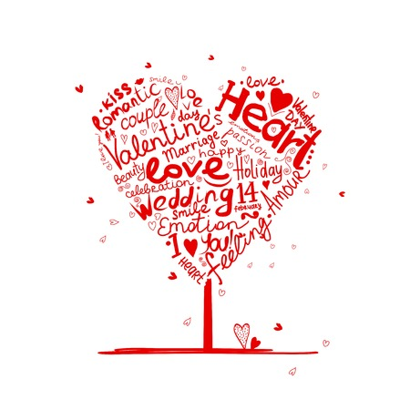 Árbol de San Valentín forma de corazón para su diseño