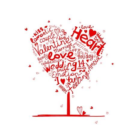 Valentine Baum Herzform für Ihren Entwurf Vektorgrafik