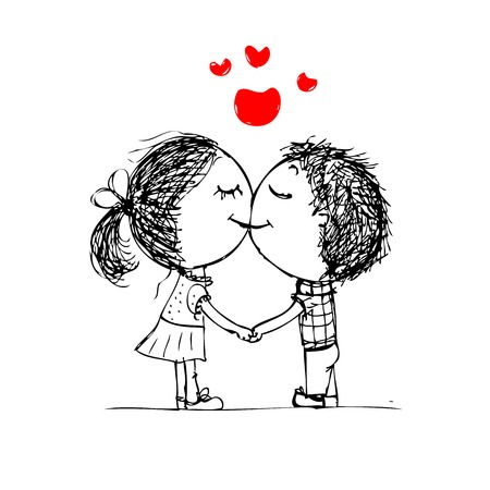 Couple kissing, valentine sketch for your design Vector