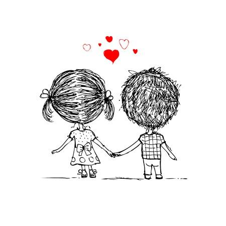 caminar: Pareja en el amor juntos, croquis san valent�n para su dise�o