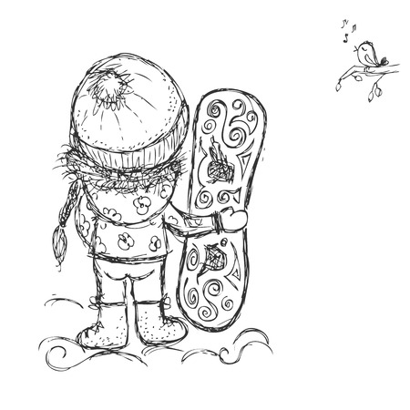 snowboarder: Cute girl with snowboard, sketch for your design