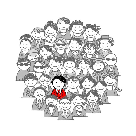 Crowd of people, sketch for your design Vector