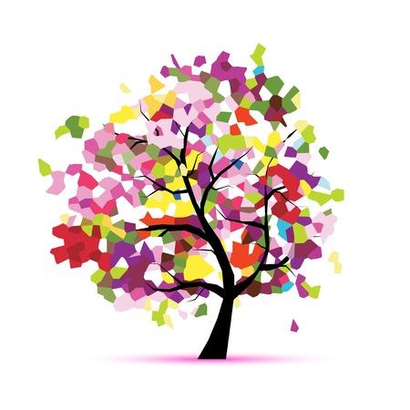 doğa arka: Size tasarımınız için soyut mozaik ağacı Çizim