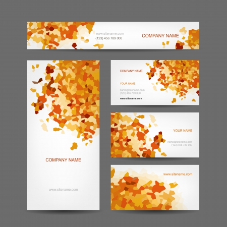 corporate event: Set of creative business cards design, abstract autumn style Illustration