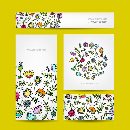 Visitenkarten-Auflistung, Blumen-Design Illustration
